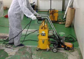千葉県内食品工場|塗床改修工事(夜間)ケミクリートクイックE