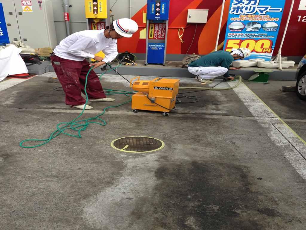 ガソリンスタンドに塗り床施工