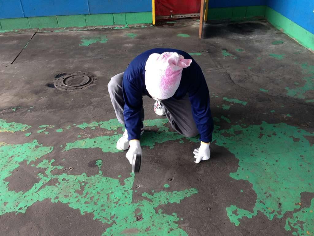 埼玉県深谷市の池田自動車(カーコンビニクラブ)|自動車整備工場床塗装塗り替え工事(塗り床):ケミクリートEPカラー