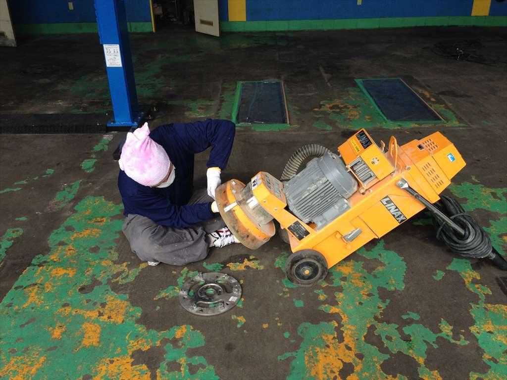埼玉県深谷市の池田自動車様|自動車整備工場塗り床(塗床)改修工事:ケミクリートEPカラー