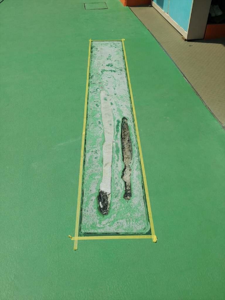 東京都江東区の幼稚園|園庭床塗装(塗り床)(塗床)剥がれ補修工事:ウレタン