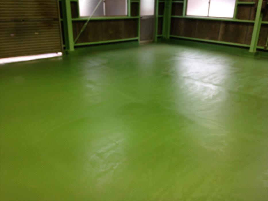 埼玉県入間郡三芳町貸倉庫|床塗装塗り替え工事:ケミクリートEPカラー