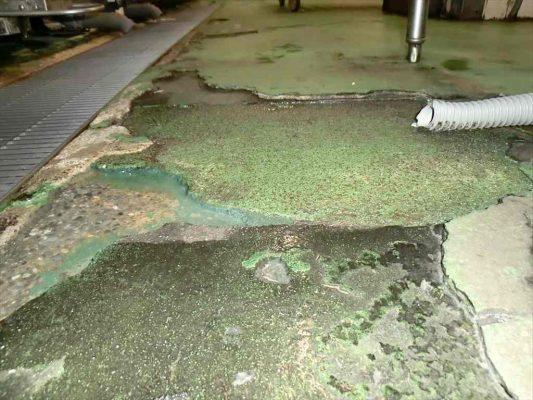 宮城県仙台市のホテル 厨房洗浄室の塗り床(塗床)改修工事:ケミクリートMSモルタル防滑工法