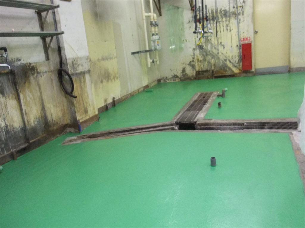 千葉県リゾートホテル塗床改修工事|厨房塗床改修工事(ケミクリートMS)