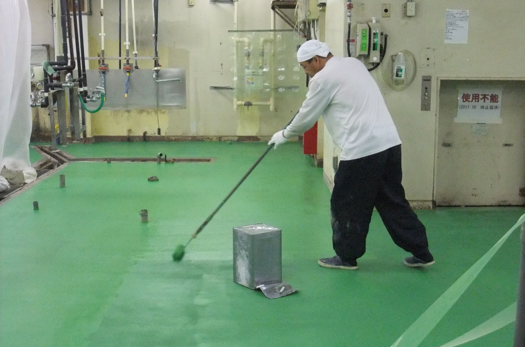 千葉県内ホテル厨房床塗替え