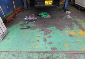 埼玉県深谷市の池田自動車様 自動車整備工場塗り床(塗床)改修工事:ケミクリートEPカラー