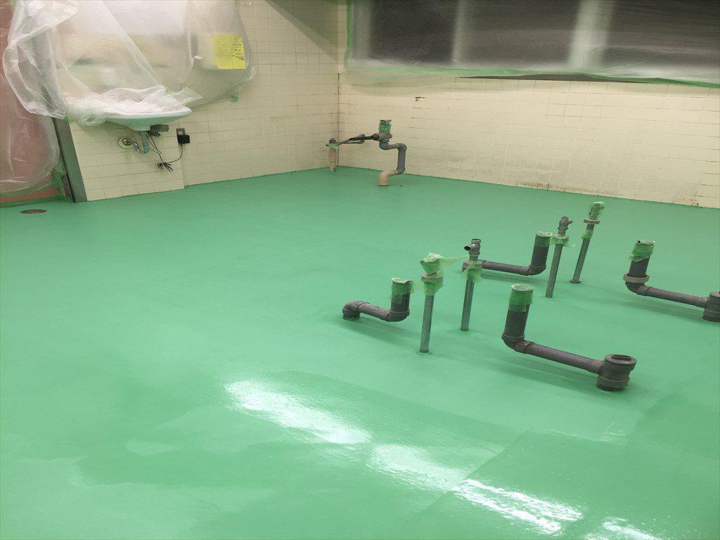 東京都八王子市の保育園|厨房塗り床(床塗装)改修工事:ケミクリートMSL:低臭タイプ