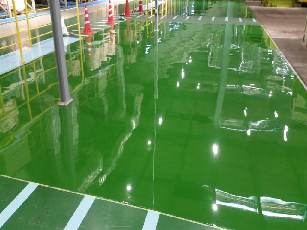 茨城県内のリサイクル工場|塗り床(床塗装)改修工事:エポキシ塗床