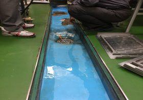 東京都新宿区の製菓学校|側溝塗り床(床塗装)塗替え工事:タフクリートMW工法(水性硬質ウレタン)耐熱