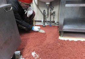 埼玉県北本市の牛丼屋さんの厨房床塗装(塗り床)塗り替え工事|耐熱ピュール