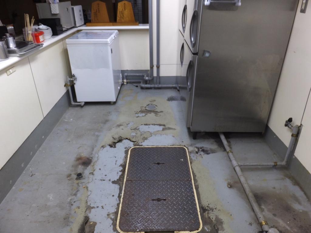 東京都千代田区神田の焼肉屋|厨房防水から塗床(床塗装)へ改修工事:ケミクリートMS