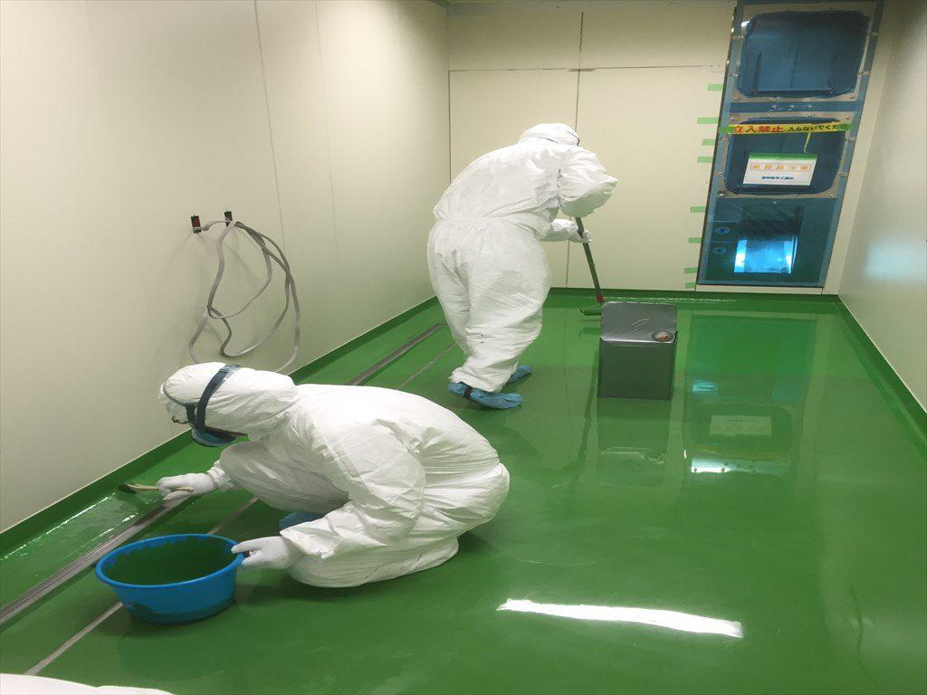 茨城県の製薬会社|クリンルーム塗り床(床塗装工事):ケミコンダクトRE