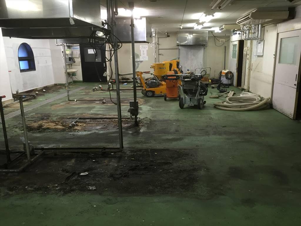 群馬県伊香保温泉|ホテル厨房塗り床(床塗装)改修工事:タフクリートMH