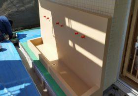 神奈川県藤沢市内保育園|水飲み・足洗場床塗装:カラートップAU水性カラー