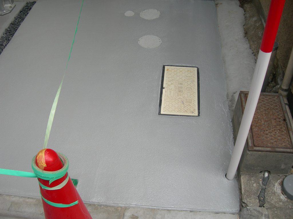 東京都荒川区個人邸|ガレージ(駐車場)塗り床工事:ケミクリートE防滑工法