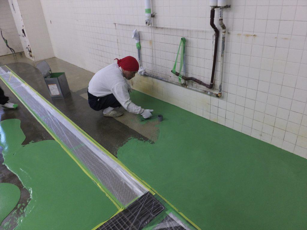 宮城県仙台市のホテル|厨房・洗浄室床塗装(塗床)改修工事:MMA