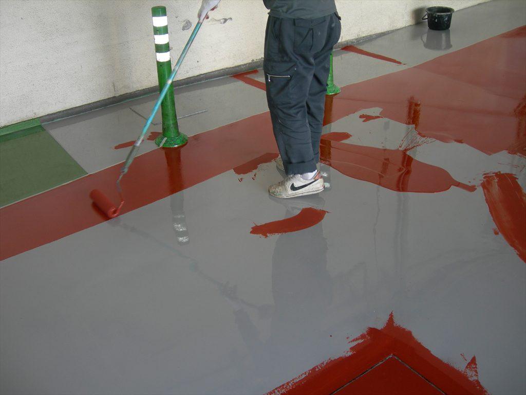 神奈川県の食品工場|荷捌き場床塗装(塗床)塗替え工事:ケミクリートE