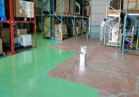 埼玉県戸田市内の物流倉庫|塗床(床塗装)工事:ケミクリートEPカラーを施工しました。