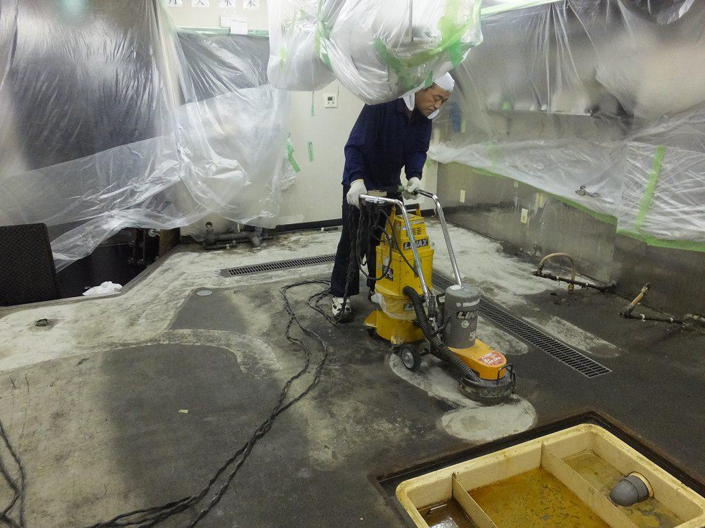 東京都中央区人形町のハンバーガー宅配店の厨房床塗装工事