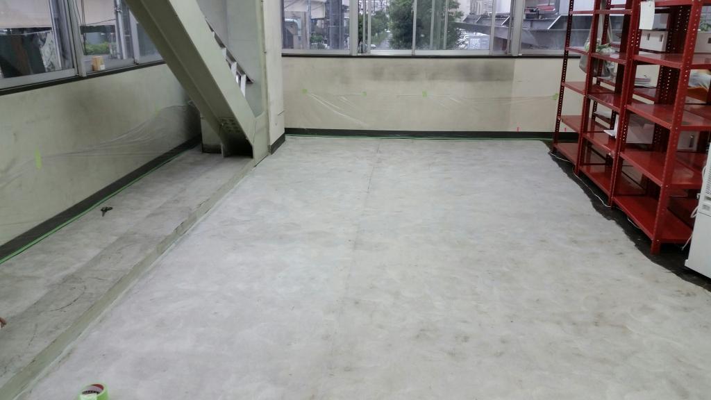 東京都品川区の設計事務所オフィス コンクリート床防塵を2分割で施工:シリケートハードナーJP