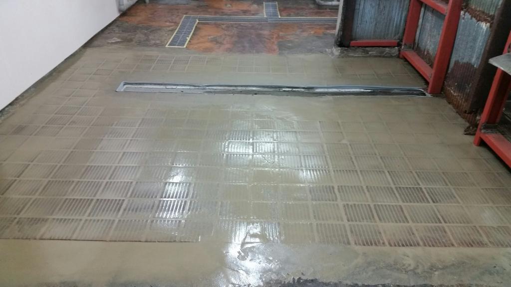 東京都渋谷区の結婚式場|厨房塗り床改修工事:ケミクリートMSLモルタル工法