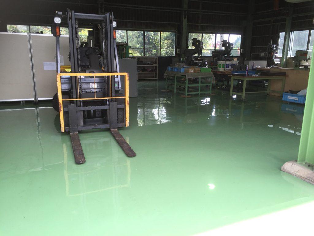 埼玉県比企郡川島町の金属加工工場の塗り床工事(床塗装工事)|エポキシ樹脂塗り床