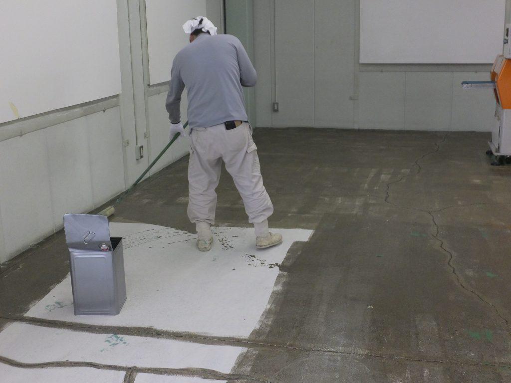 千葉県流山市の化粧品会社|工場塗床改修工事:エポキシ樹脂流しのべ工法