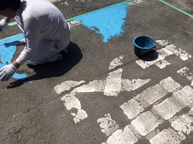 埼玉県深谷市の自動車整備工場|駐車場床塗装工事:カラートップP