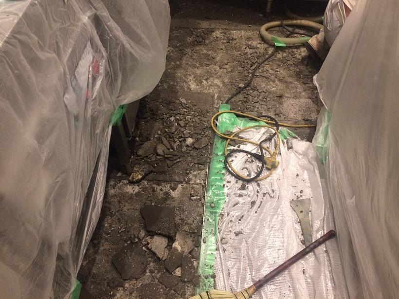 埼玉県越谷市のとんかつ屋さん厨房|塗床剥がれ補修:タフクリートMH