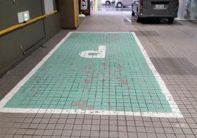 駐車場床タイルに塗床とライン引きを施工:ユータックR