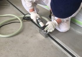 埼玉県狭山市の自動車整備工場に|床塗装(塗床)を施工:ファンコートGH