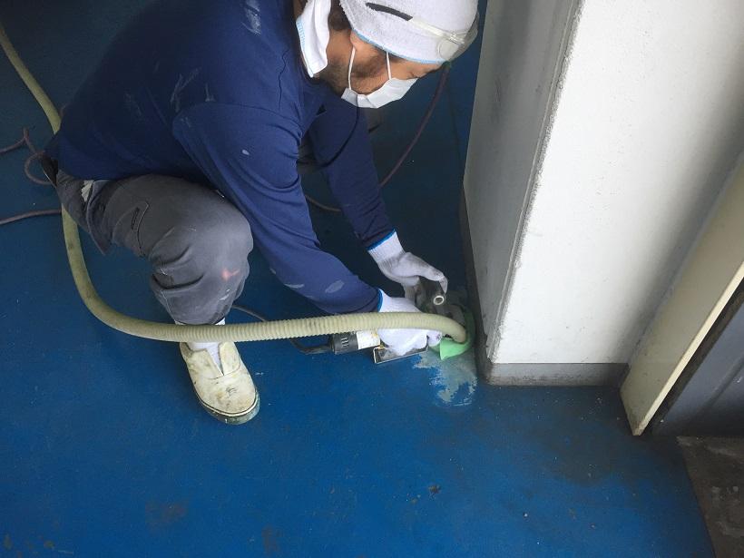 神奈川県横浜市都筑区でガレージ(自動車整備工場)|床塗装(塗床)工事:ケミクリートMSペースト工法