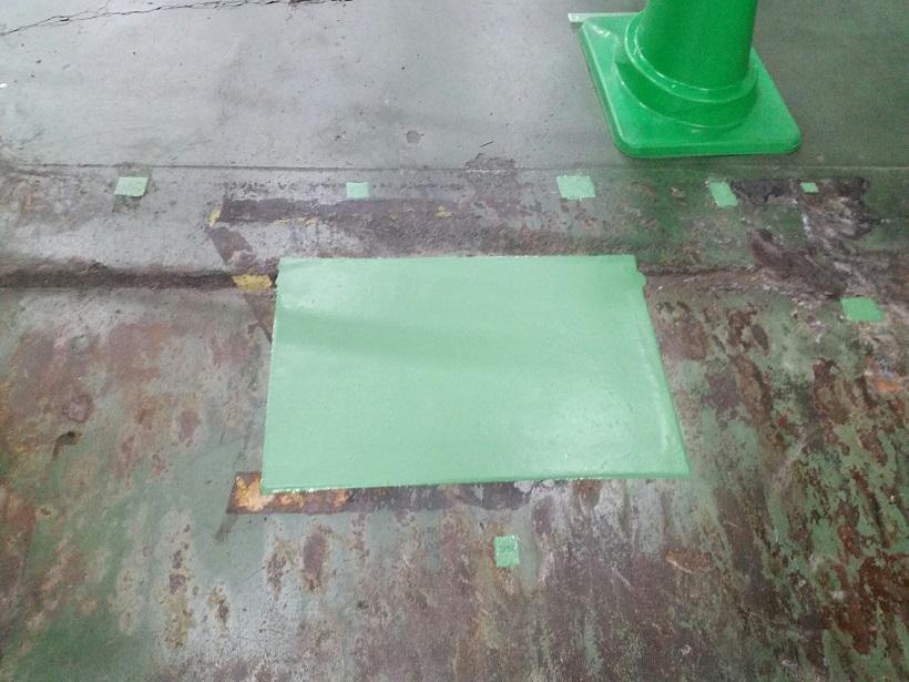 東京都青梅市の物流倉庫|床欠け補修工事:ケミクリートMSL 超速硬化