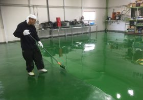 千葉県柏市 配管設備工場床塗装(塗床)改修工事:タフクリートFL