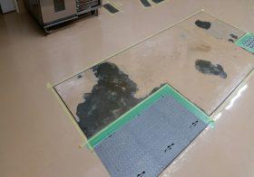 東京都町田市のスーパー|ベーカリー作業室床塗装(塗床)剥離補修工事:エポキシ樹脂塗床 ケミクリートE