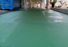 東京都板橋区の自動車展示場|床塗装(塗床)工事:カラートップPペースト工法