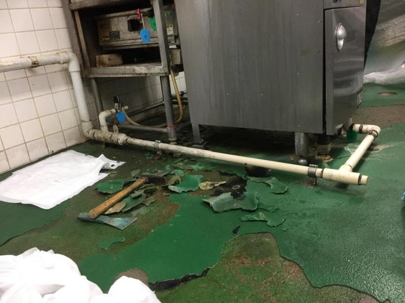 神奈川県厚木市のスーパー厨房塗床改修工事