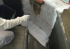 神奈川県横浜市の工場|防液提に帯電防止機能付き防食ライニング施工
