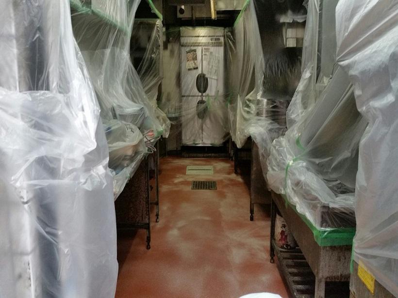 東京都中野区のおそば屋さん 厨房塗床(床塗装)工事(改修)