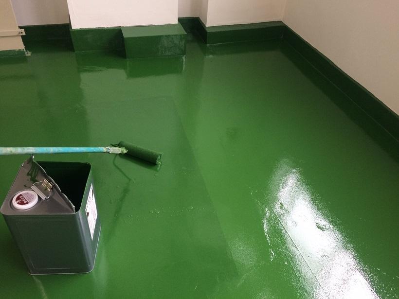 茨城県常総市の工場|コンクリート床塗装工事:ケミクリートEPカラー