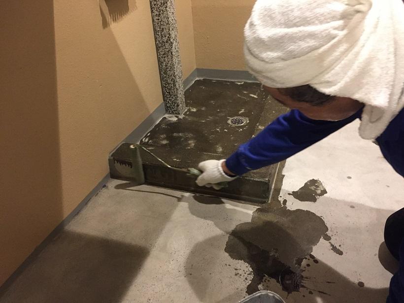 東京都渋谷区のマンション|ゴミ置き場床塗装(塗床)改修:ケミクリートE