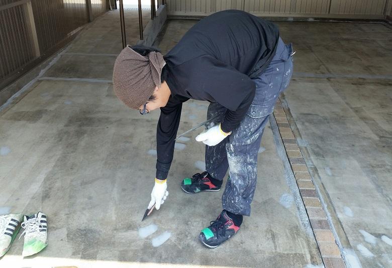 埼玉県深谷市の駐車場塗床工事