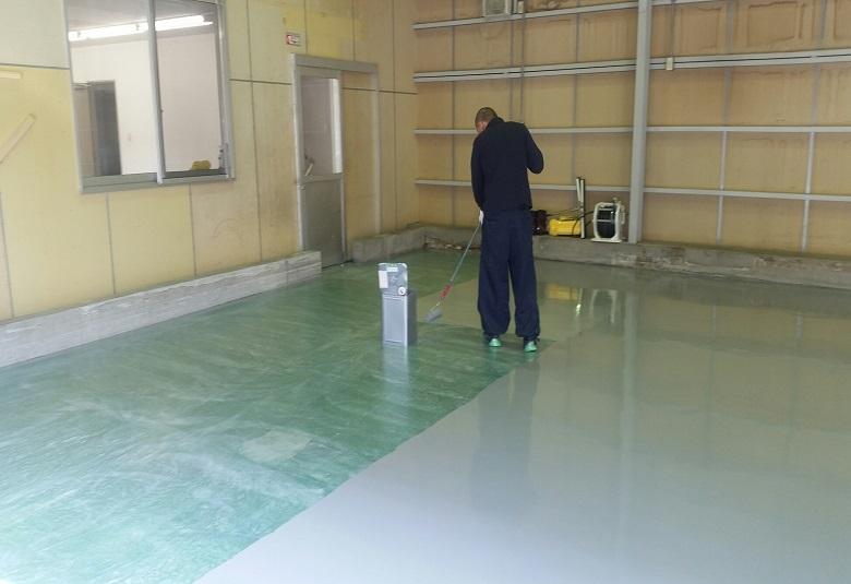 東京都練馬区の賃貸倉庫|塗床工事:ケミクリートEPカラー