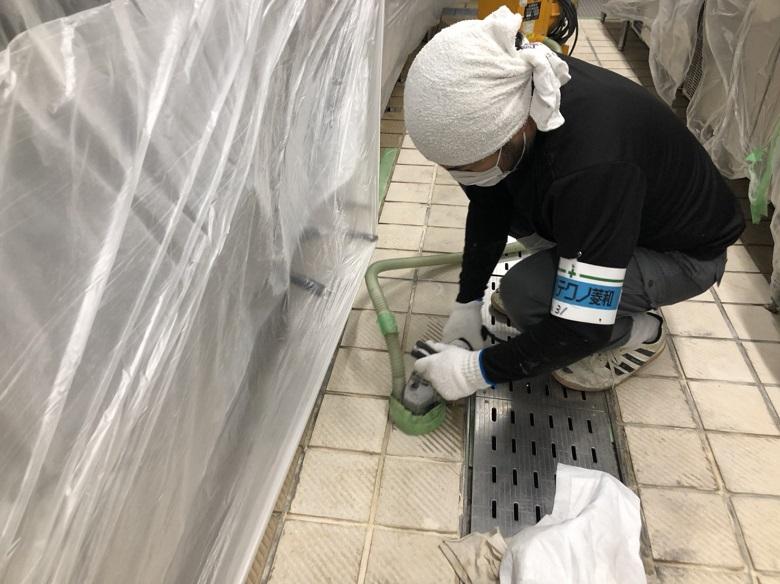 神奈川県横浜市緑区・社員食堂の厨房|床タイル滑り止め工事:タフクリートSD(塗床工事)