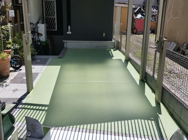 東京都大田区の個人邸 ガレージ(駐車場)塗床(床塗装)塗り替え工事:ケミクリートE