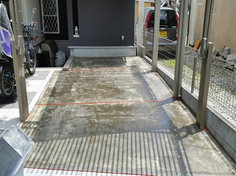 東京都大田区の個人邸|ガレージ(駐車場)塗床(床塗装)塗り替え工事:ケミクリートE