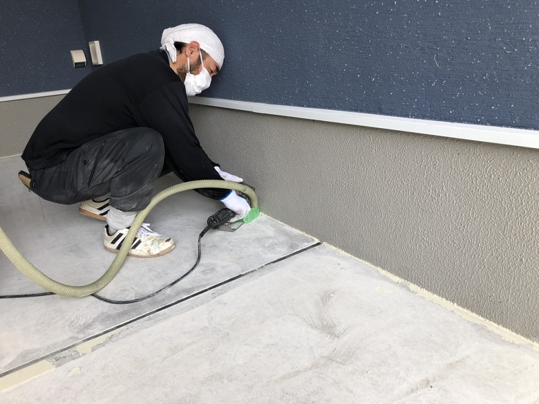 東京都足立区の個人邸|ガレージ(駐車場)塗床(床塗装)剥離を解決:エポキシ樹脂塗床