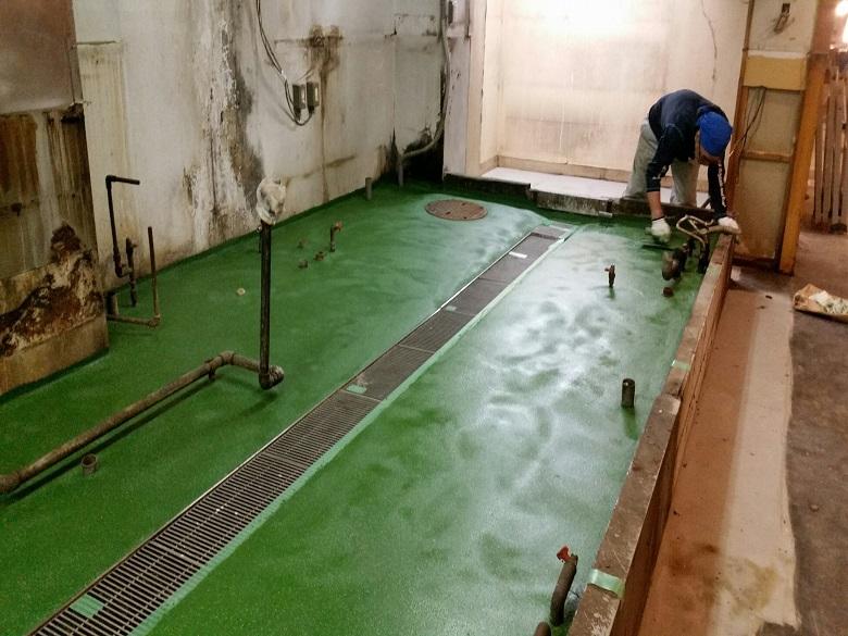 東京都中央区銀座の飲食店(居酒屋)厨房|塗床(床塗装)改修工事:タフクリートMH