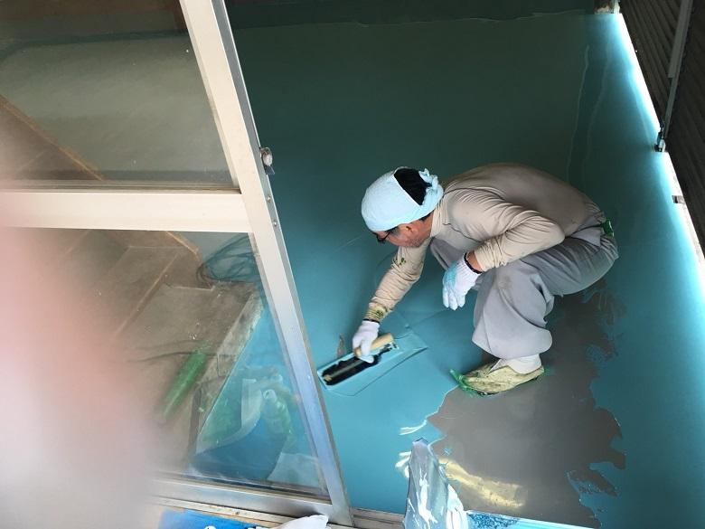 千葉県佐倉市のキノコ栽培工場|コンクリート床に塗床(床塗装):ジョリエースE