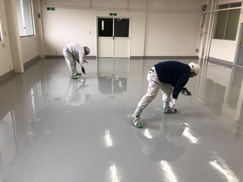 長野県茅野市のイトウパーツ工業様の塗床(床塗装)工事
